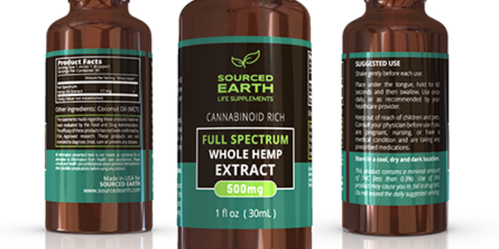$45 for CBD Hemp Oil. 500mg Full Spectrum. at sourced Earth Life Supplements (25% discount) offer image