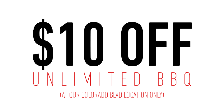 $10 OFF UNLIMITED BBQ (COLORADO BLVD ONLY) - Partner Offer Image