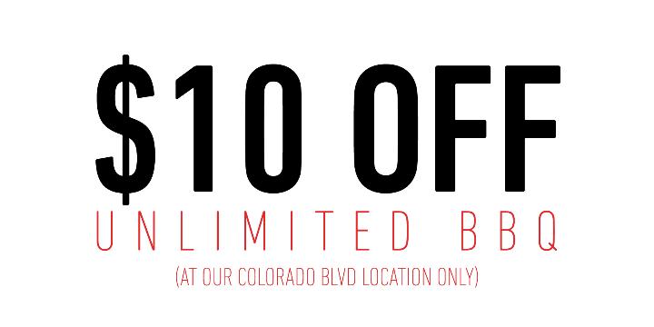 $10 OFF UNLIMITED BBQ (COLORADO BLVD ONLY) - Partner Offer Image
