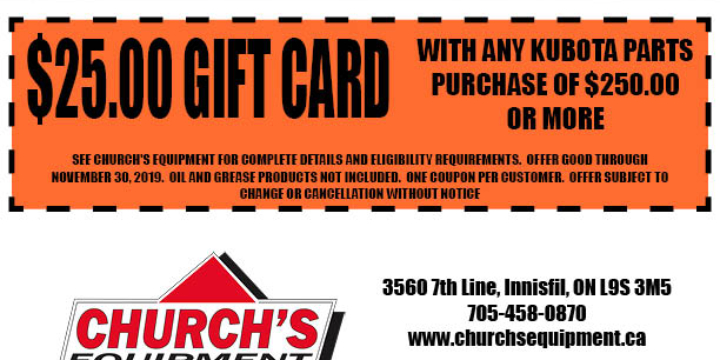 a $25 Gift Card for every $250 you spend on Kubota Parts! offer image