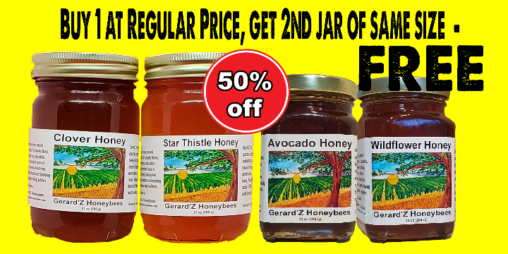 50% Savings on Large Jar Honey (21 oz) and/or Medium Jar Honey (10 oz).  All 12 varietals available NOW, for as low as $6 for one (10 oz)  jar !!  - Partner Offer Image