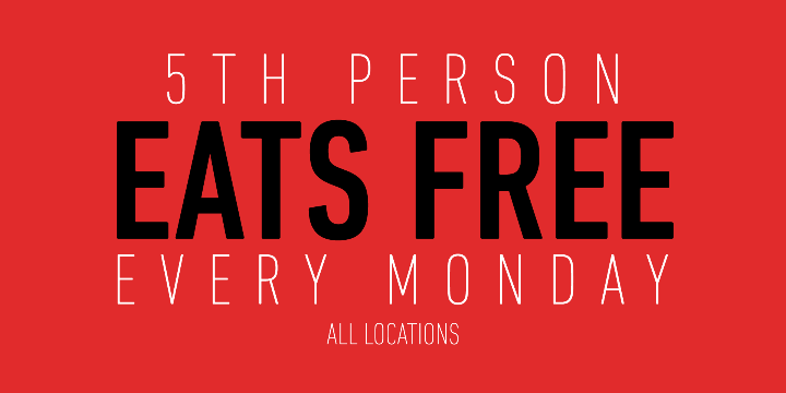 MONDAY - 5th PERSON EATS FREE (All Locations) - Partner Offer Image
